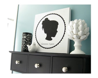 Custom Silhouette Portrait - 12x12 Canvas Art Print - Great For Any Occasion - High Quality