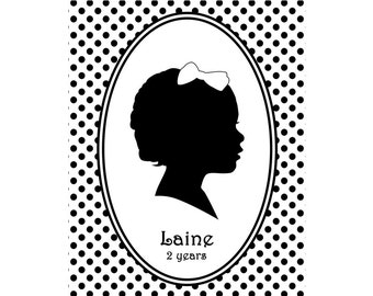 Custom Silhouette Portrait - Unframed 8x10 Art Print - Beautiful Holiday Gift - Monogram - Trending