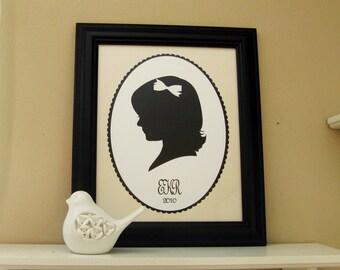Custom Silhouette Portrait - Framed Cut Silhouette on Pre-printed Art Print - Trending - Handmade Gift - Mongrammed