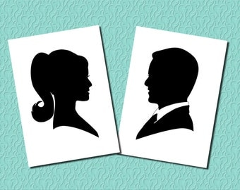Custom Silhouette Portrait of Bride OR Groom - Unframed 8x10 Art Print - Couples Gift for Wedding Anniversary