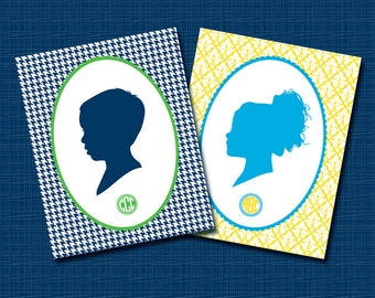 Custom Silhouette Portrait - Unframed 8x10 Preppy Art Print - Trendy Gift Idea