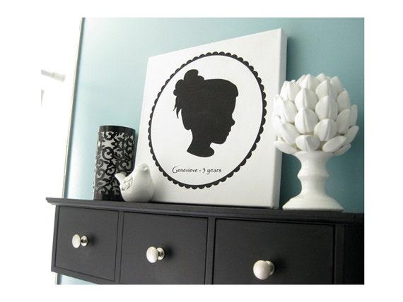 Custom Silhouette Portrait - 12x12 Canvas Art Print - Cyber Monday