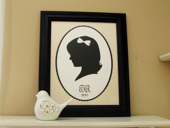 Custom Silhouette Portrait - Framed  8x10 Art Print - Trending - Handmade Gift - Mongrammed