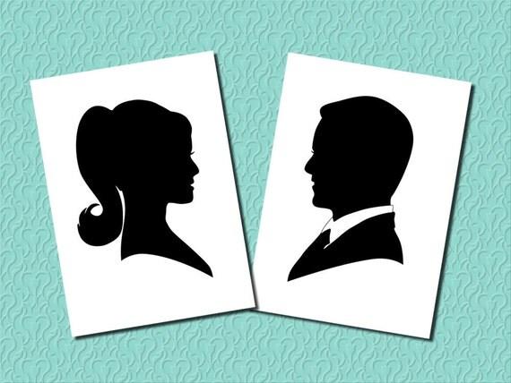 Custom Silhouette Portrait of Bride OR Groom - Unframed Art Print - Various Sizes - Wedding Present - Personalized Wedding Invitation