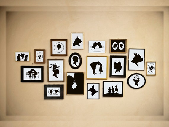 Custom Silhouette Portrait - Unframed 8x10 Art Print - Handmade - Personalized - Wall Art - Silhouette Wall