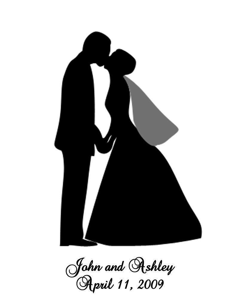 Silhouette Wedding Couple Custom silhouette portraitCouple Silhouette Hugging