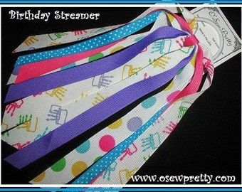 Birthday hair bows, Ponytail Streamer, Birthday Party Hair accessiories, Birthday ribbon Hair bow,