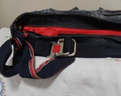 Recycled Blue Jeans Hobo bag Reconstructed Denim Purse Upcycled Red and Blue Eco Friendly Reconstructed Navy Sailor