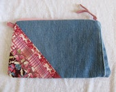 Pink Recycled Denim Makeup Case Zipper Pouch Cosmetic Bag Eco Friendly Upcycled Reconstructed Blue Jeans