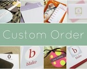 Custom Order for patpme  - 20 Modern Initial Folded Stationery