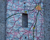 Vintage Nashville Tennessee Road Map Light Switch Plate