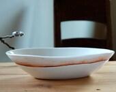 White Porcelain Oval Serving Bowl