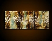 White Blossoms Encaustic Triptych Original Painting Earthy Brown Blue Strength Asian Symbol by Stacy Hollinger