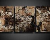 Abstract Painting. 25% OFF. Large. Asian Painting. Modern Art. Original. Contemporary Painting. Huge 20 x 48 White Brown