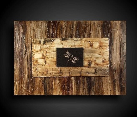 UNIQUE Original Abstract Painting Large 20 x 30 Art Artwork by The Raw Canvas Gallery FANTASTIC HOME DECOR Taupe Bronze Brown Black Dragonfly