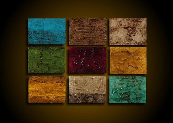 Original Abstract Painting Large UNIQUE 9 Piece 21 x 15 Textured Art Artwork by The Raw Canvas Gallery Red Gold Blue Turquoise Taupe