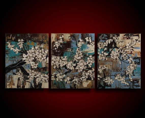 Wall Art. Abstract Painting. 50% OFF Sale Asian Painting. Modern Art. Original. Contemporary Painting. Huge 20 x 48 Blue Brown Turquoise big