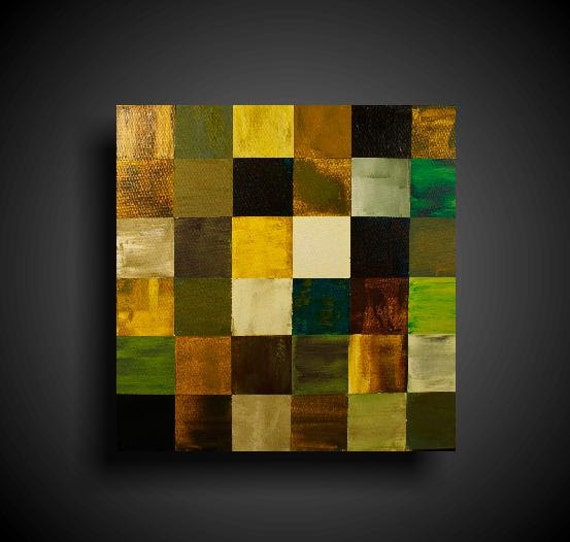 Wall Art. Abstract Painting. 25% OFF Sale. Modern Art. Original. Contemporary Painting. Huge. 24 x 24. Green gold brown