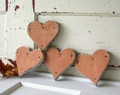 4 Rustic Handmade Wooden Hearts with Chippy Paint