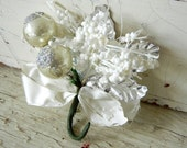 Vintage Christmas Corsage with Silver Glass Balls and Foil Leaves Made in Japan
