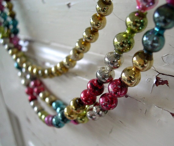 Vintage glass bead christmas tree garland by peppermintbark