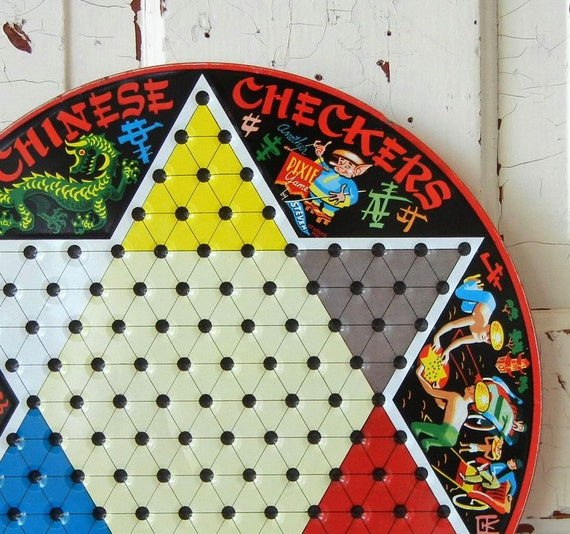 Vintage Chinese Checkers Metal Game Board By Peppermintbark