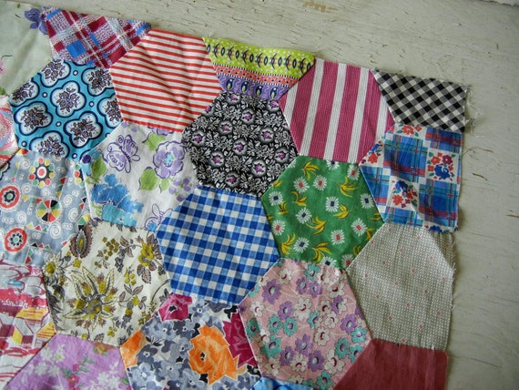 Vintage Feedsack Quilt Top Handmade Hand Sewn Over 60 Prints