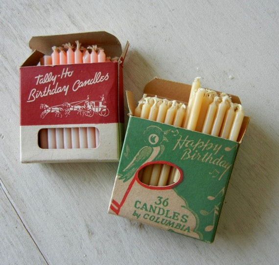 Vintage Birthday Candles in Original Boxes with Charming Graphics