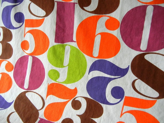 Vintage Fabric with Numbers in Brilliant Colors