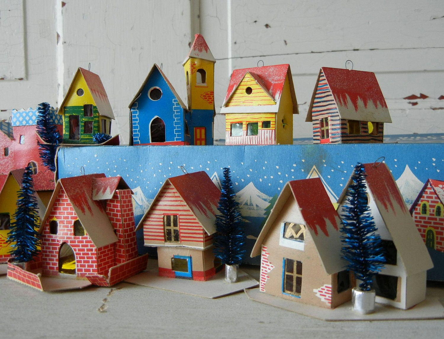 VINTAGE BOXED WOODEN TOY HOUSES VILLAGE STACKING - J.A.K. CUBES ...