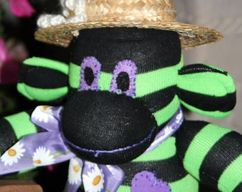 Scarlet Green and Black Sock Monkey