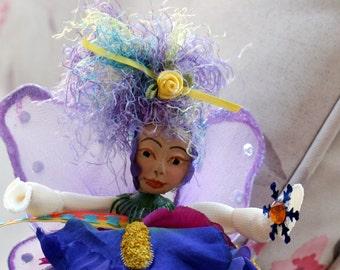 Flower Fairy Art Doll, Woodland Fairy Doll, Polymer Clay