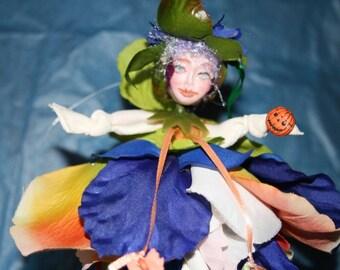 Flower Fairy Doll Ornament, Woodland Fairy, Brides Maid Gift, Purple Flower Fairy