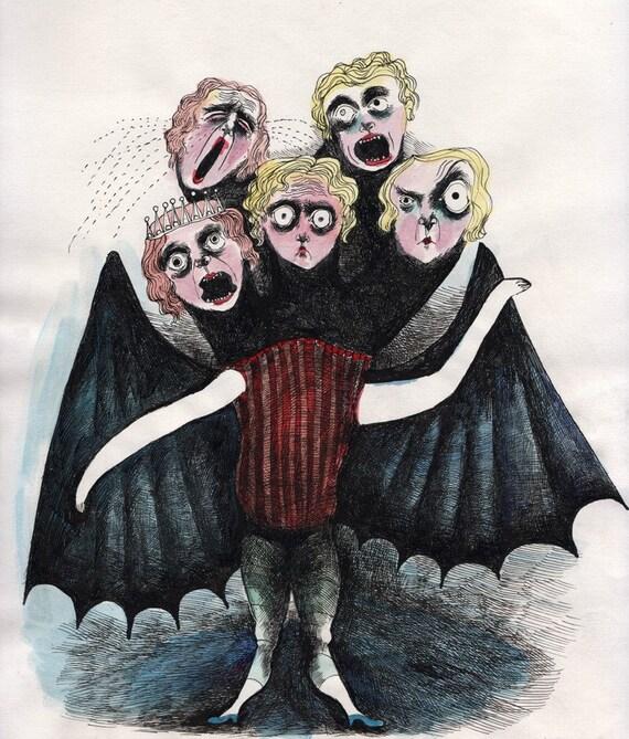 five headed BAT 8.5 x 11 archival print