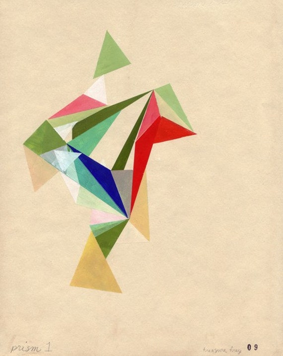 archival art print of my first Prism, geometric modern art, 8.5 x 11