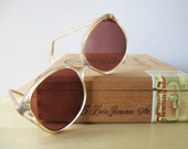 vintage womens oversized sunglasses smoke gray and petal pink