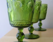 vintage thumbprint pedestal water goblets in green glass