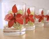 vintage christmas poinsettia lowball glasses by crisal of portugal