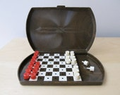 vintage traveling checkers game