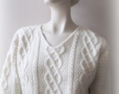 vintage english fisherman wool sweater winter white boxy cable knit womens large