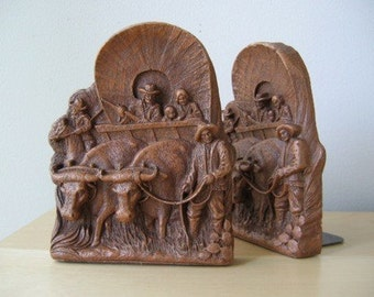 vintage western bookends syroco wood wagon train pioneer and horse decor