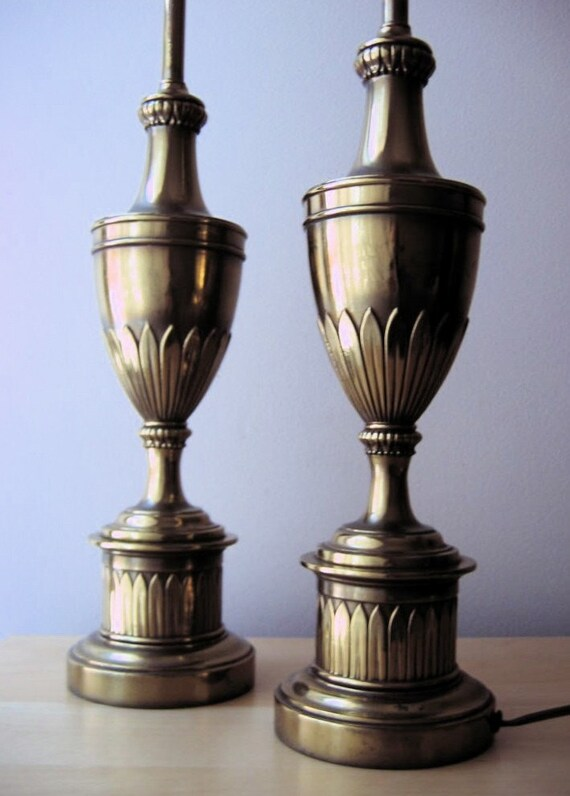 Vintage Pair Authentic Stiffel Brass Lamps Spring By