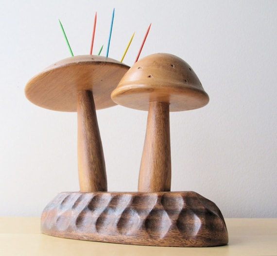 vintage wood mushrooms party pick sculpture