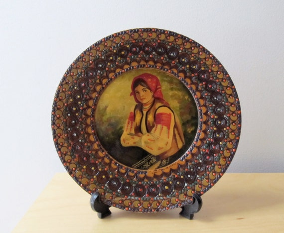 folk art, vintage oil portrait, Romanian peasant girl, hand painted wooden plate