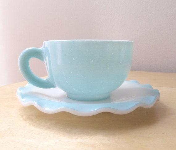 turquoise blue cup and saucer set, hazel atlas, crinoline pattern, vintage ruffles