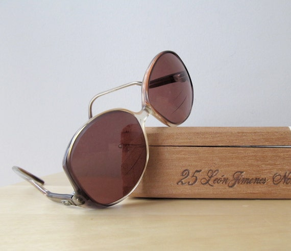 oversized vintage sunglasses, chestnut brown