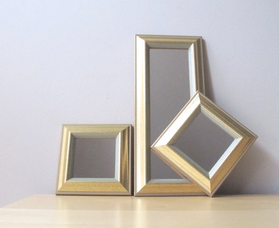 trio vintage gold gilded mirrors, hollywood regency decor
