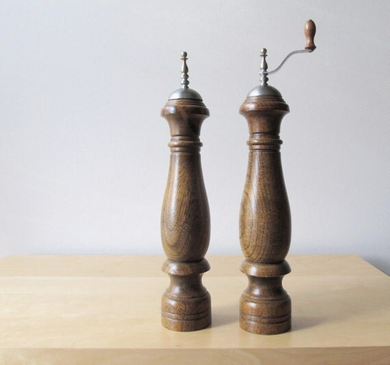 pair vintage turned wood salt shaker and pepper mill