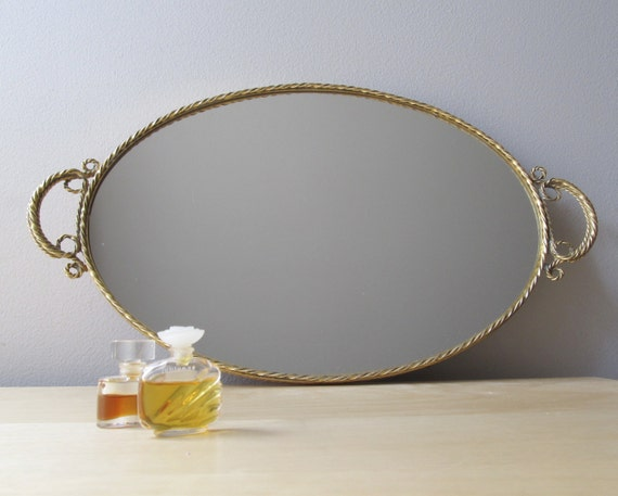 vintage oval mirror tray, gilded gold braided edge