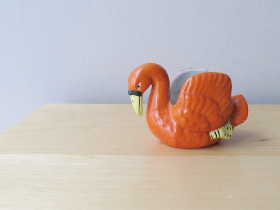 tiny orange ceramic swan, vintage planter